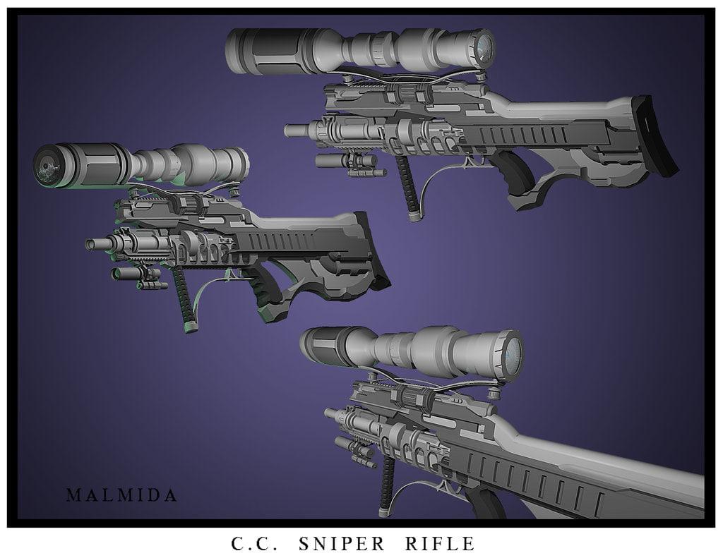 3d model sniper rifle cc